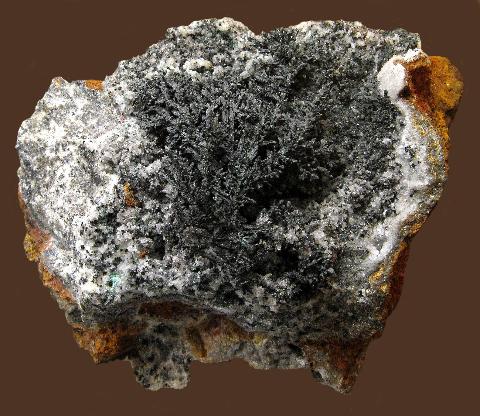 Copper on Calcite, Cole Shaft, Bisbee, Cochise Co., AZ