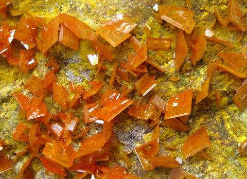 Wulfenite & Mimetite, Rowley Mine, Theba, Maricopa Co., AZ